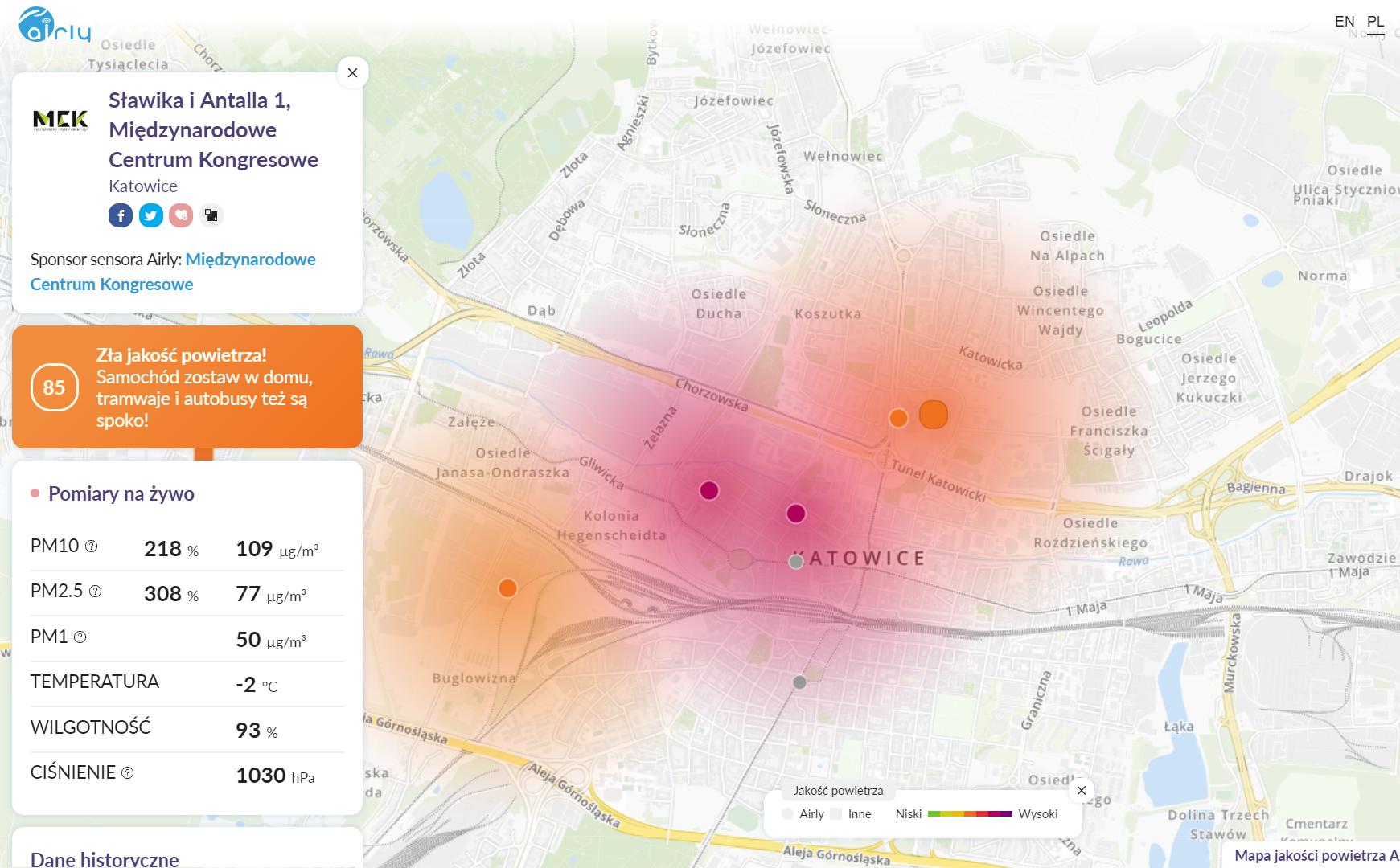 Jakość powietrza w Katowicach podczas COP24
