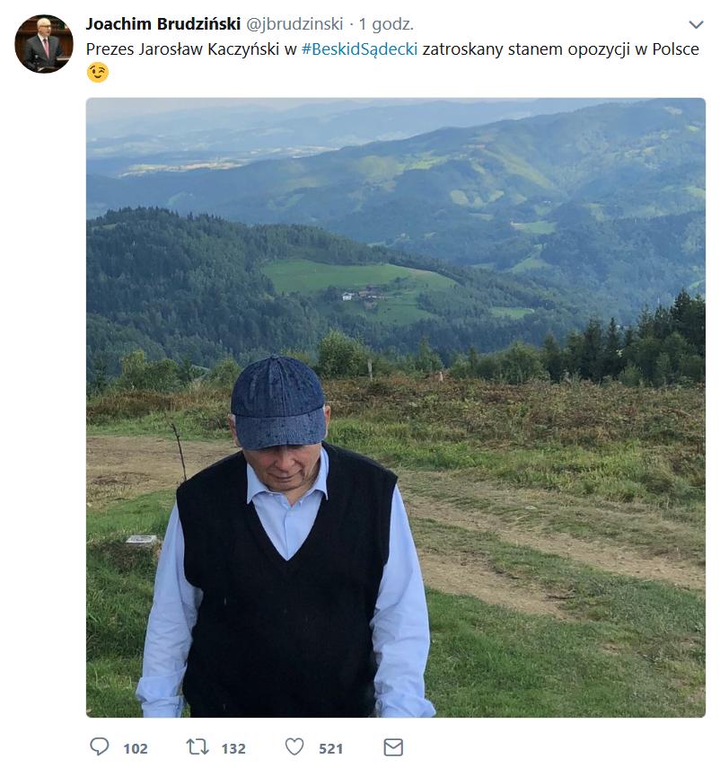 Kaczyński w Beskidzie Sądeckim