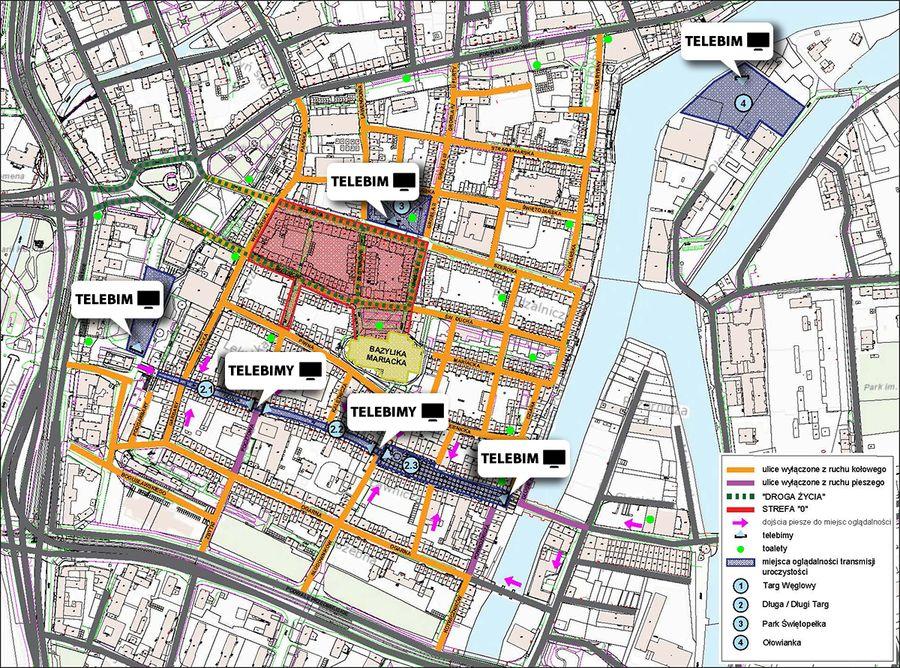 mapa gdańsk adamowicz pogrzeb