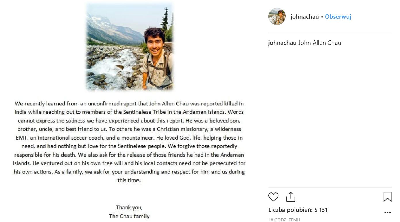 Oświadczenie rodziny po śmierci misjonarza