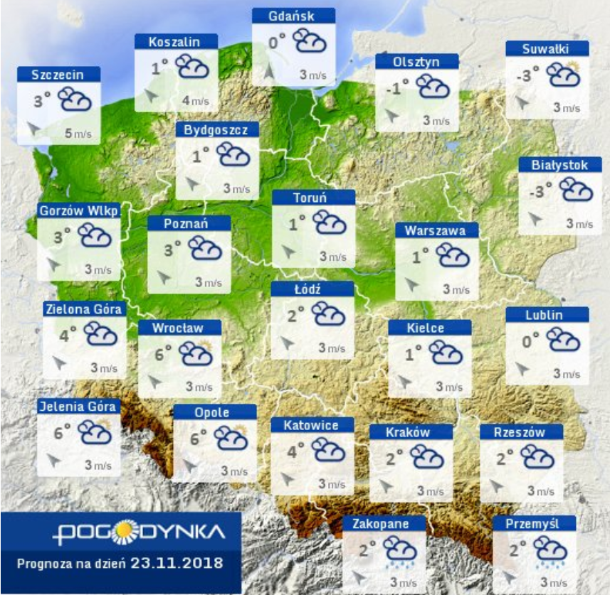 Prognoza pogody IMGW 23.11