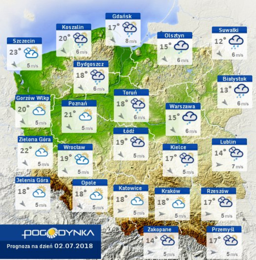 Prognoza pogody na 2 lipca
