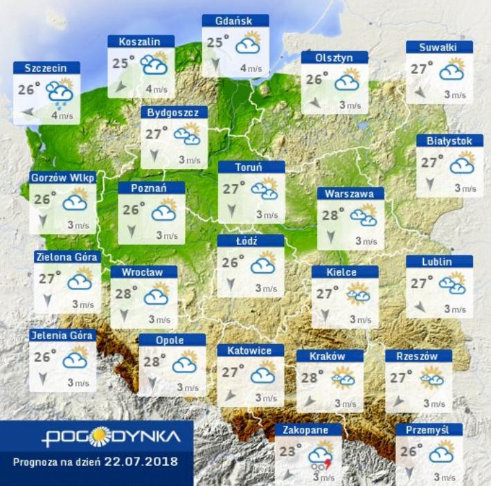 Prognoza pogody na 22 lipca