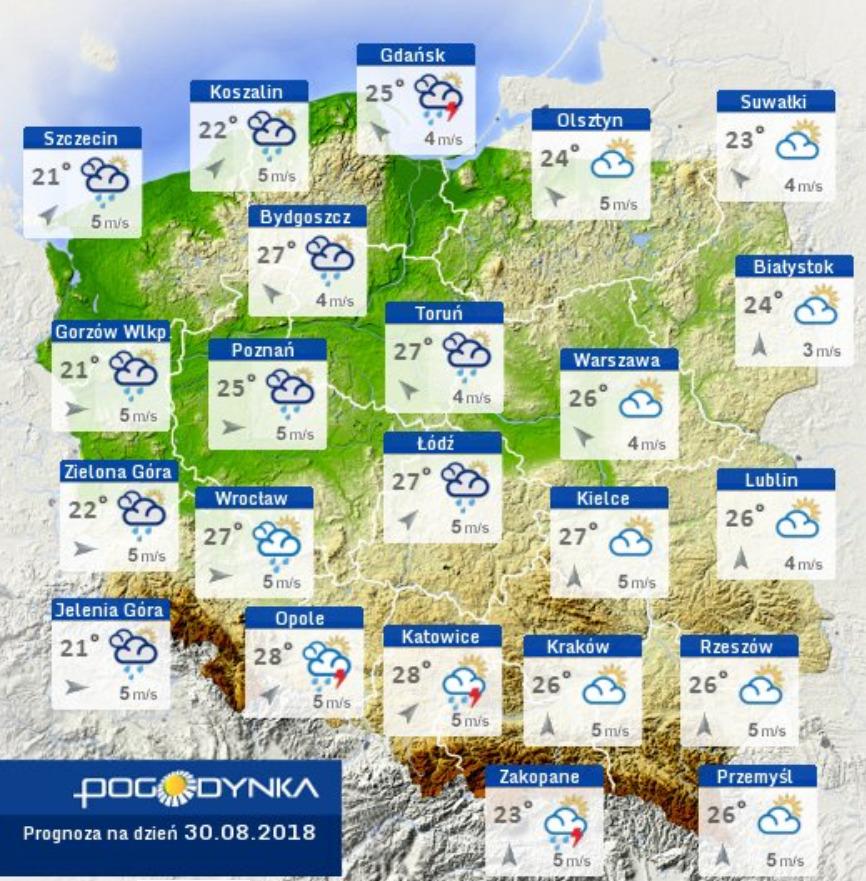 Prognoza pogody na 30 sierpnia