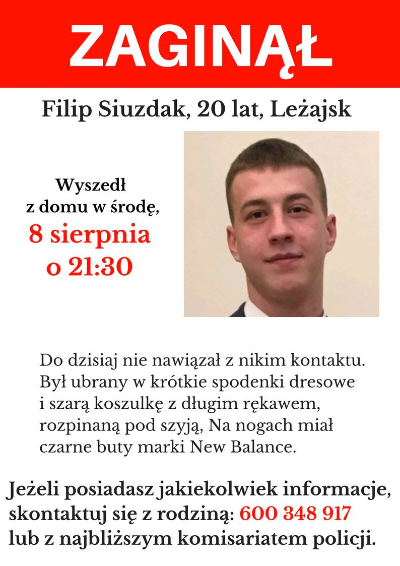 Zaginął Filip Siuzdak