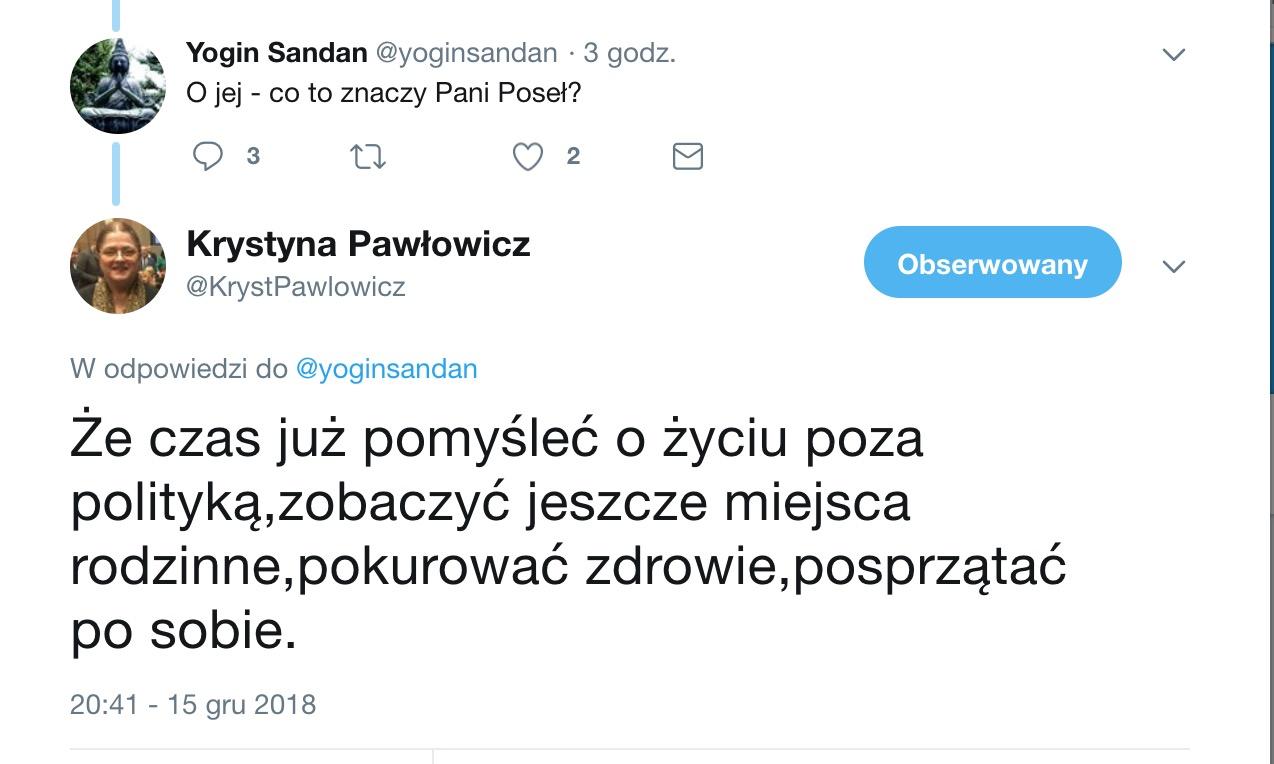 """Krystyna Pawłowicz odchodzi z polityki? """"Mój czas minął, trzeba po sobie posprzątać"""""""