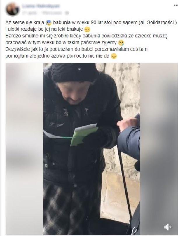 90-latka w Warszawie dorabia rozdając ulotki
