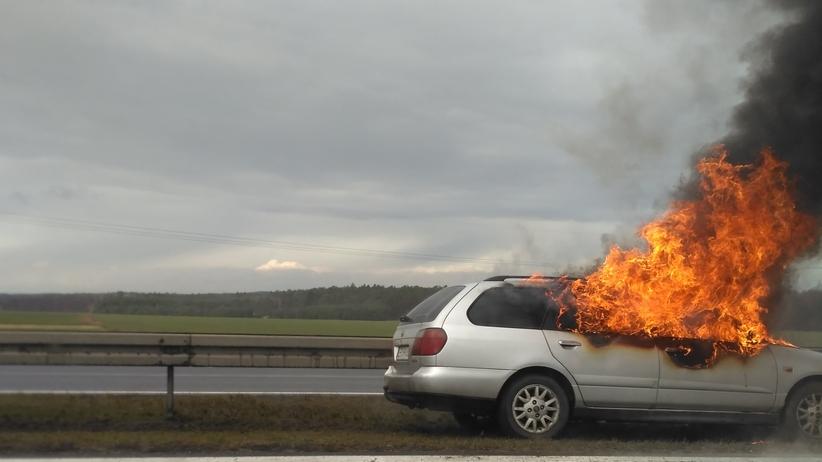 Kierowcy, UWAGA na dk1. Pożar samochodu