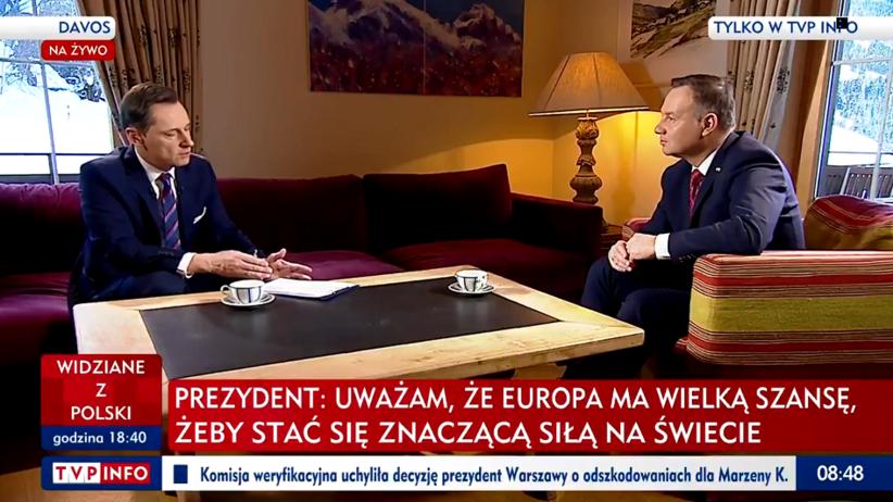 """Andrzej Duda u Krzysztofa Ziemca w TVP Info. """"Można mi przypomnieć i z pokorą będę musiał spuścić głowę"""" [WIDEO]"""