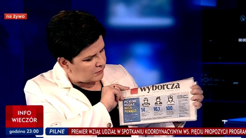 """Beata Szydło prezentuje """"Wyborczą"""" w TVP Info: Cała prawda o podejściu do Polaków jest tutaj"""
