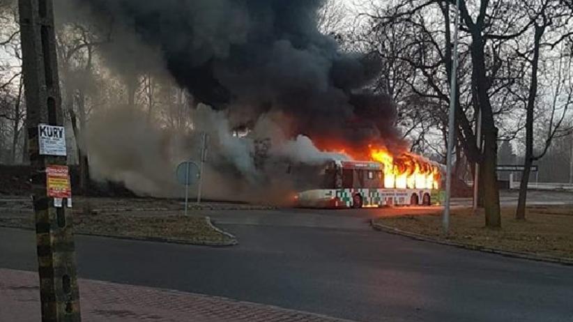 Pożar autobusu w Dąbrowie Górniczej