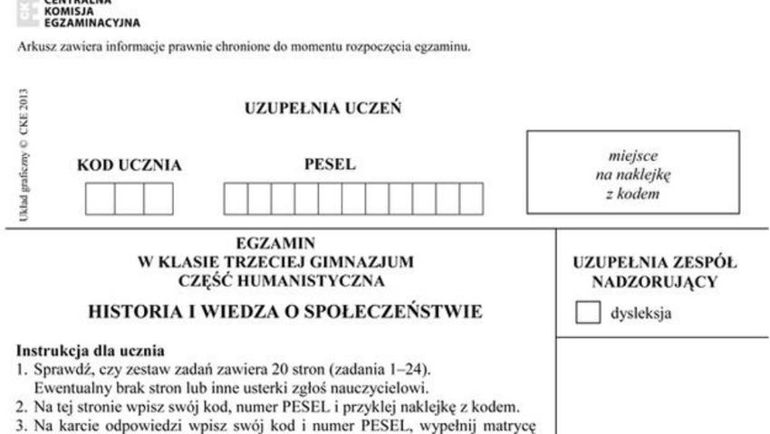 Egzamin gimnazjalny 2017 historia i WOS odpowiedzi, arkusze