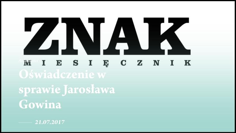 """Jarosław Gowin wykluczony ze składu miesięcznika """"Znak"""""""