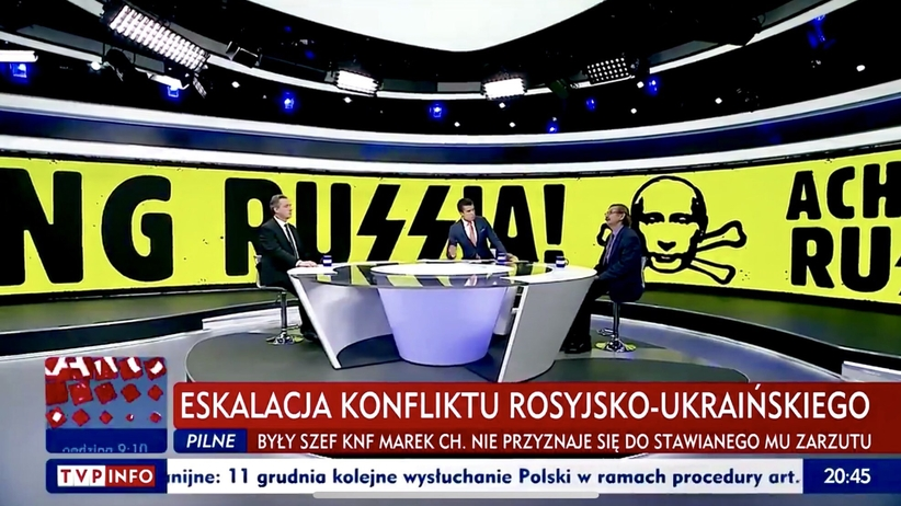 Rosyjskie MSZ wzywa polskiego ambasadora. Chodzi o oprawę w studiu TVP Info