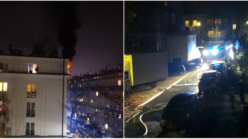 Kraków. Pożar w Nowej Hucie. Zaparkowane auta utrudniły przejazd strażakom