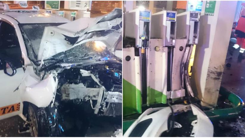 Łódź. Taksówka kierowana przez nastolatkę uderzyła w stację paliw