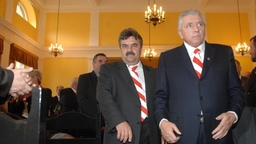 Na zdjęciu Krzysztof Filipek i ś.p. Andrzej Lepper (2009).     Adam Jagielak/Wprost/East News