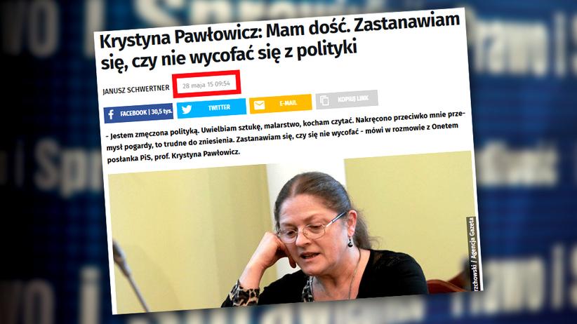 Pawłowicz kończy z polityką? Przed wyborami w 2015 mówiła podobnie