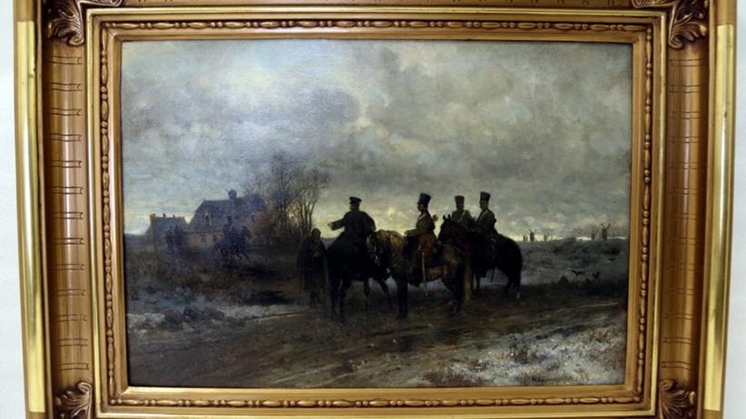 """Policja odzyskała obraz Gierymskiego """"Patrol Polski 1830 roku""""polic"""