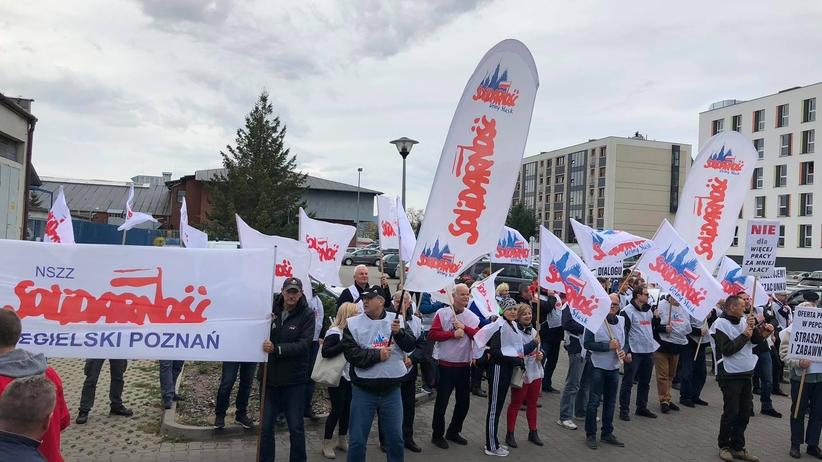 Poznań. Protest pracowników Pepco Polska