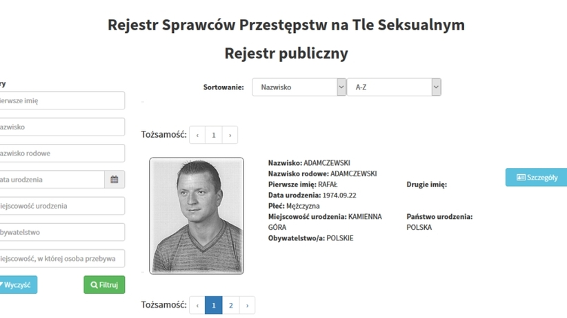 Rejestr pedofilów publicznie dostępny. Zawiera 800 nazwisk i zdjęć