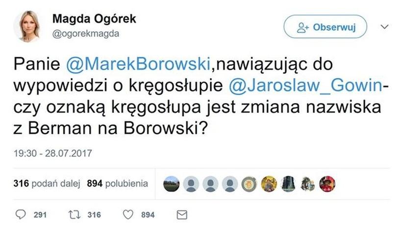 Ogórek wypomina Borowskiemu, że jego ojciec zmienił nazwisko. Złamała zasadę etyki dziennikarskiej