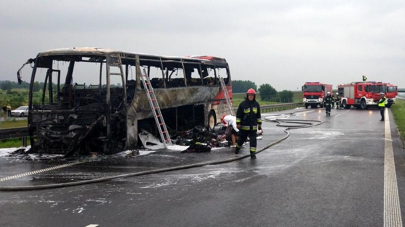 Rzeszów. Pożar autobusu na autostradzie A4