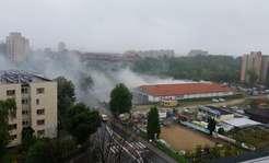 Pożar Lidla w Chorzowie. Na miejscu 12 zastępów straży pożarnej [ZDJĘCIA]