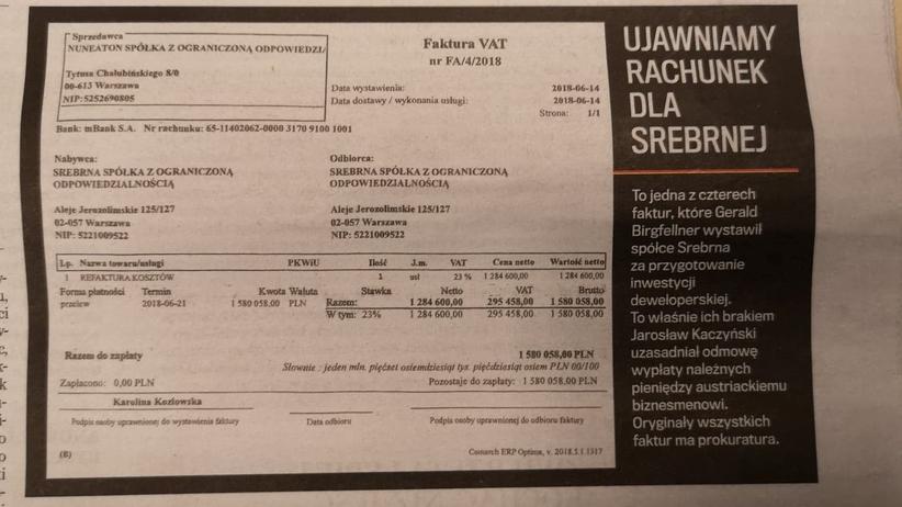 """Taśmy Kaczyńskiego. """"Gazeta Wyborcza"""" publikuje fakturę dla Srebrnej. Spółka nie chciała jej zapłacić"""