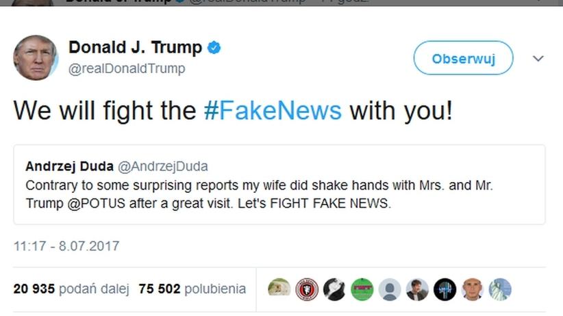 Trump do Dudy na Twitterze: Będziemy razem walczyć z fake newsami