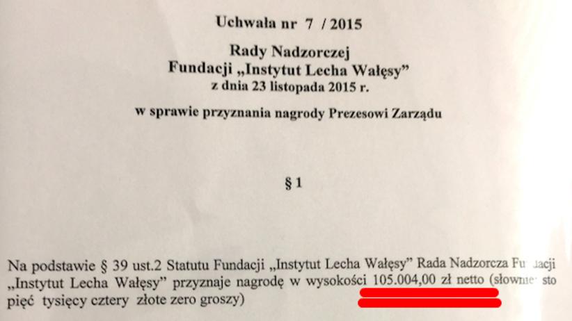 Tylko u nas: Prezes Instytutu L. Wałęsy przyznał 225 tys. nagrody swojemu poprzednikowi