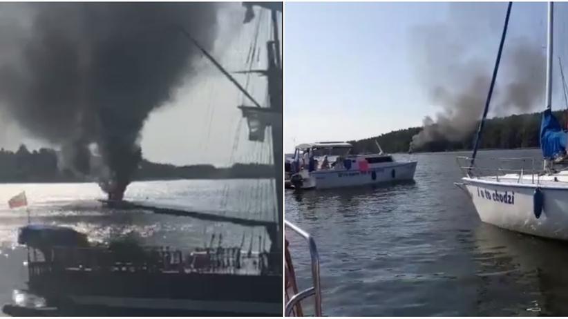 Warmińsko-mazurskie. Pożar jachtu na Jeziorze Mikołajewskim