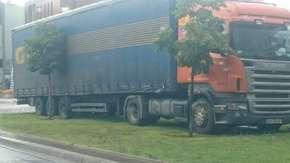 Warszawa Wilanów: TIR zaparkował na trawniku [FOTO]