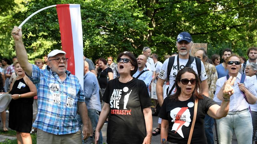Warszawa. Demonstracja przeciwników zmian w sądach przed Senatem
