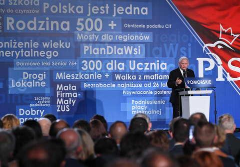 Wybory 2018. Jarosław Kaczyński podczas konwencji PiS w Gdańsku