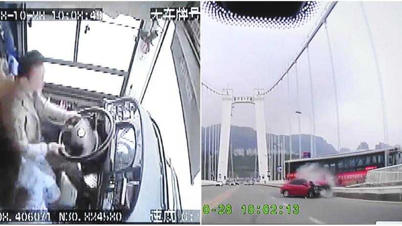 Chiny. Kierowca szarpał się z pasażerką i autobus wpadł do rzeki