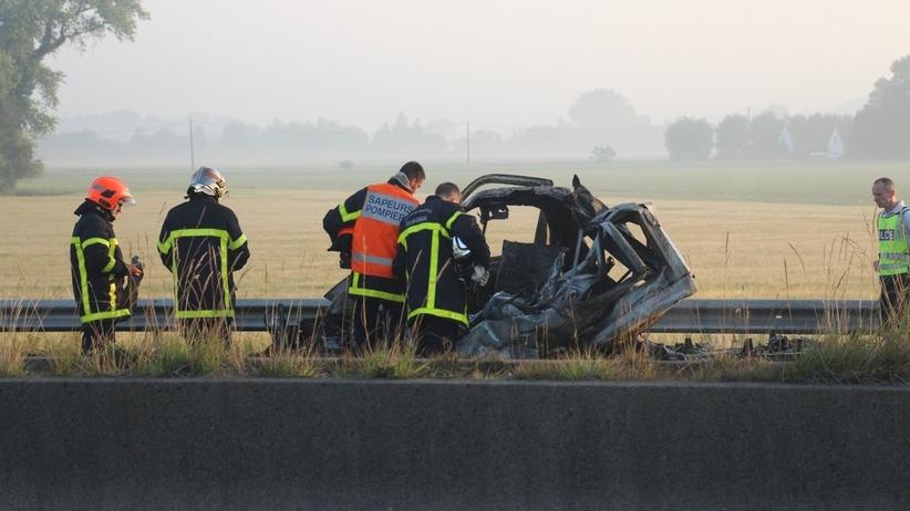 Wypadek w Calais - polska furgonetka