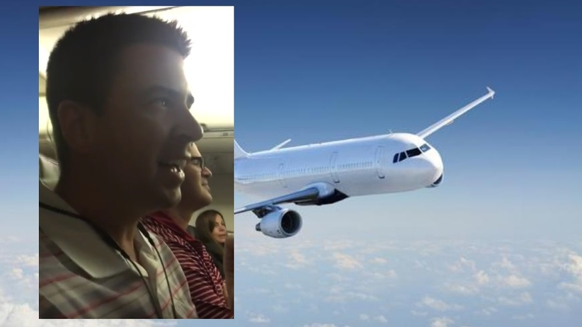 Zaskoczony pasażer samolotu