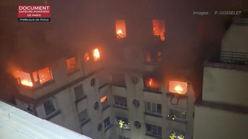 Tragiczny pożar w Paryżu. Zginęło kilka osób, kilkadziesiąt jest rannych [WIDEO]