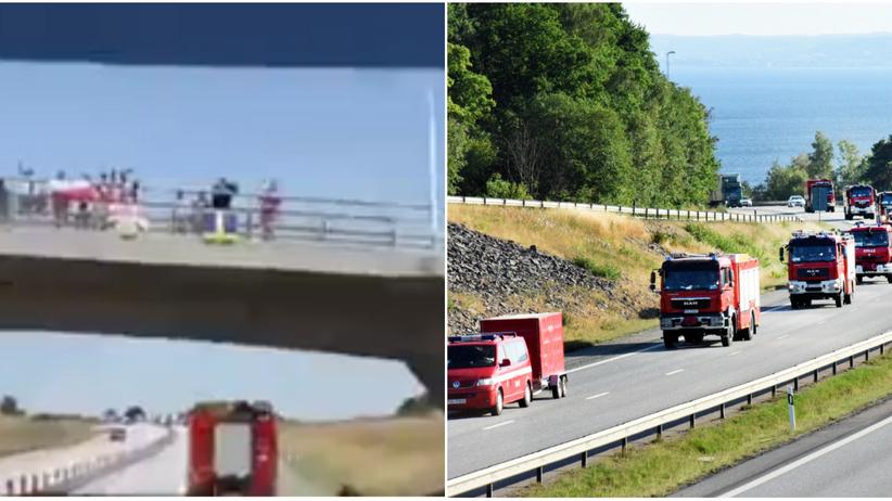 Szwecja. Polscy strażacy witani w drodze do gaszenia pożarów lasów