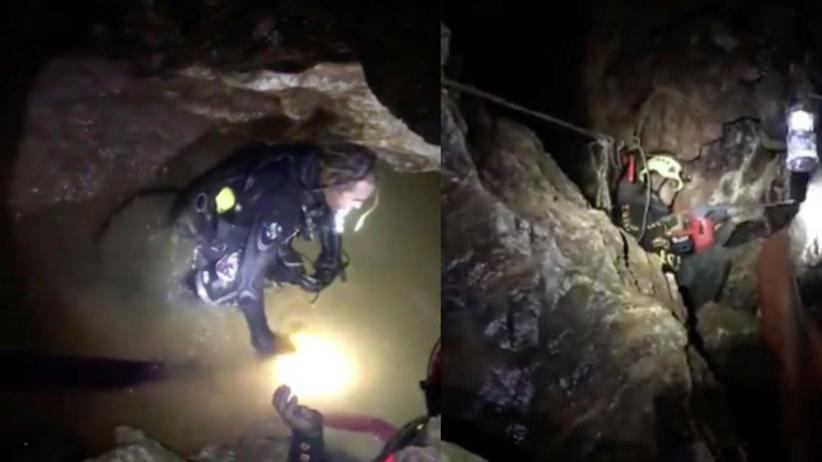 Nagrania z akcji ratunkowej w jaskini. ''Każdemu dziecku towarzyszy dwóch nurków'' [WIDEO]