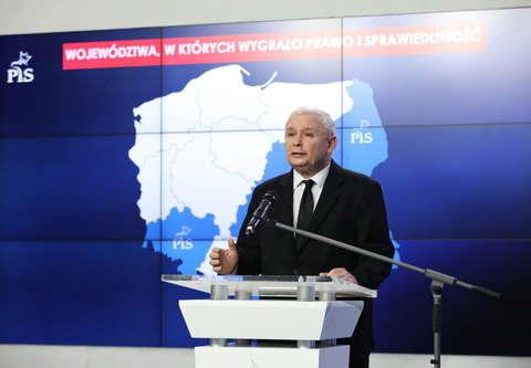 Wybory 2018. Prezes PiS Jarosław Kaczyński zaprezentował wyniki z całej Polski