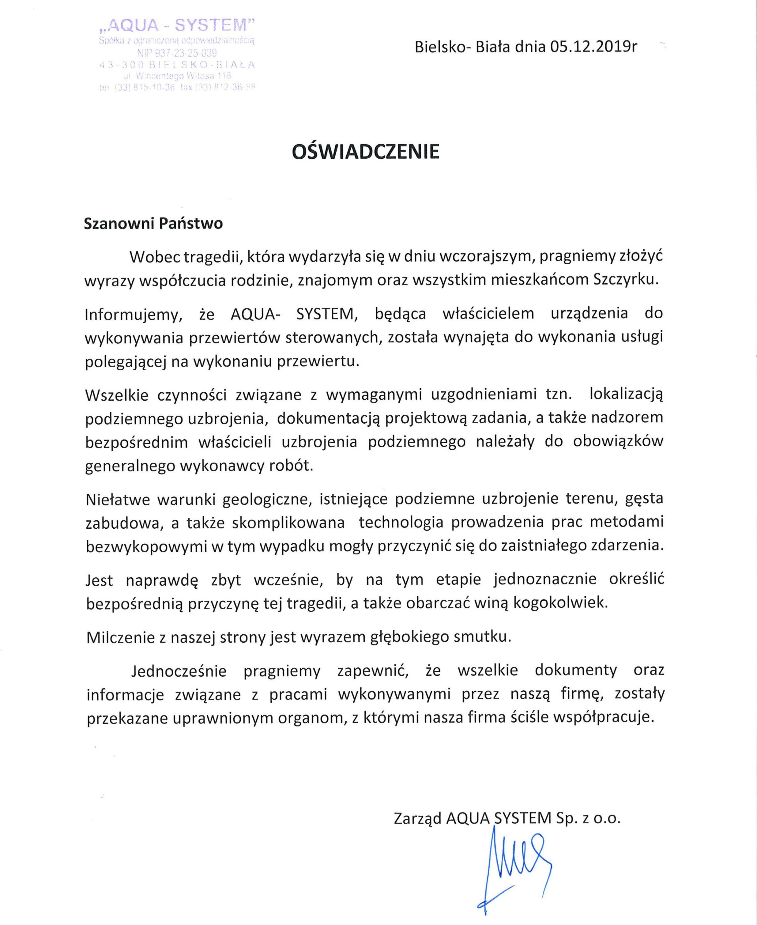 Oświadczenie firmy AQUA SYSTEM z Bielska-Białej ws. tragedii w Szczyrku