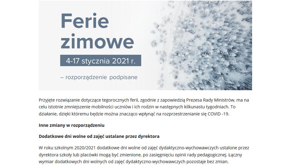 Ferie zimowe 2021