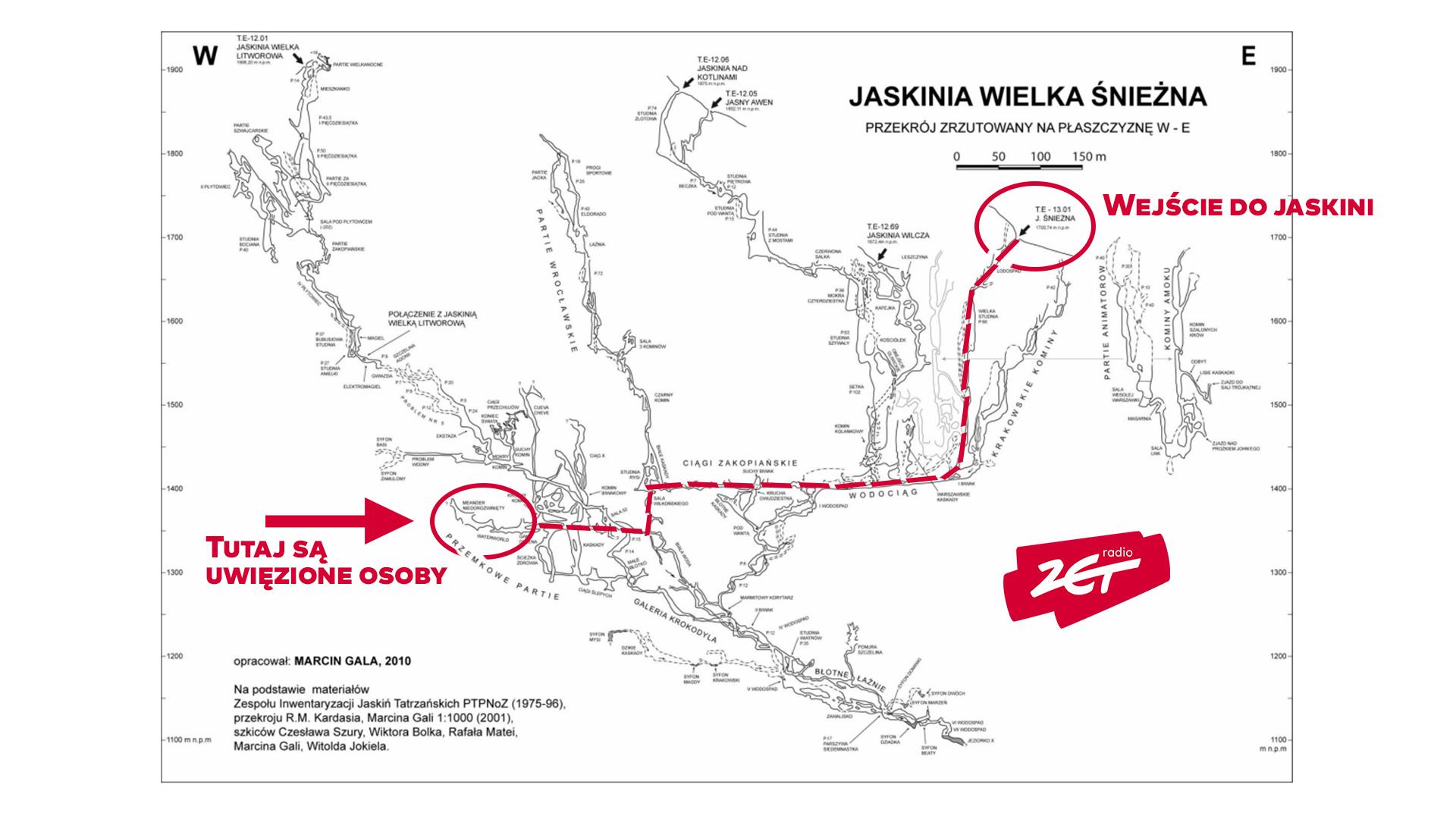 mapa jaskinia z zaznaczona trasa