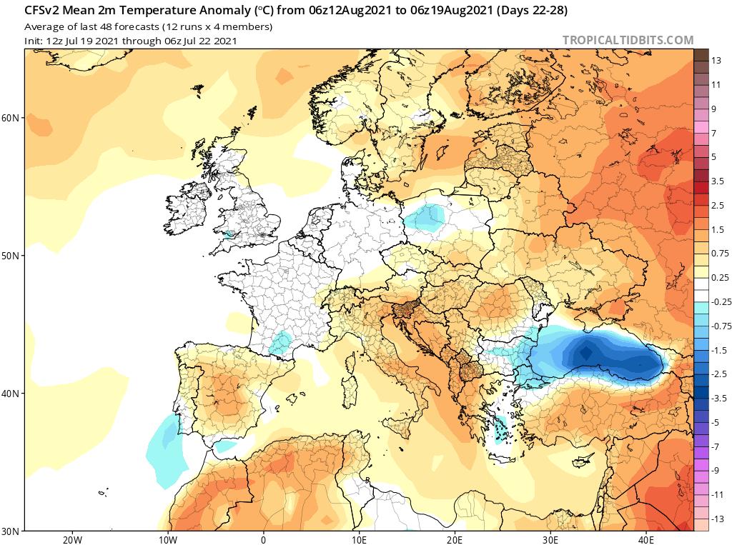 Prognoza anomalii temperatury w okresie od 12.08.2021 do 19.08.2021