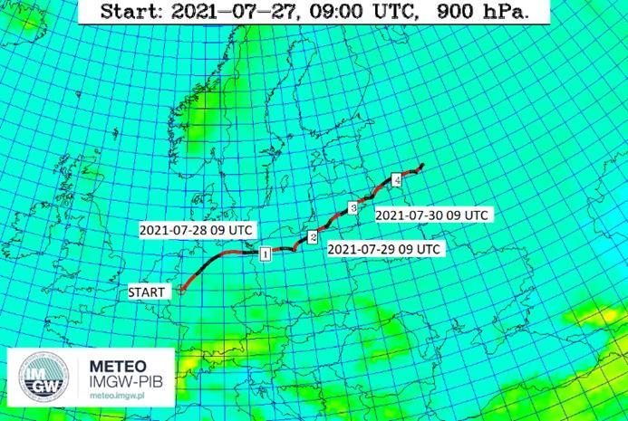 Prognozowany kierunek i czas przemieszczania się chmury z Niemiec