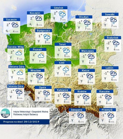 Prognoza pogody na sobotę 28 grudnia
