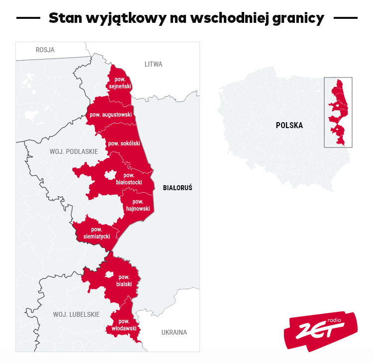Stan wyjątkowy na wschodniej granicy - mapa
