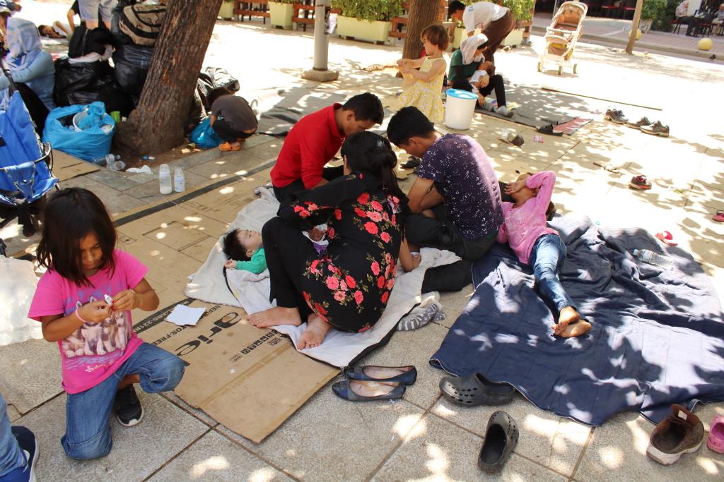 Uchodźcy na placu Wiktorii